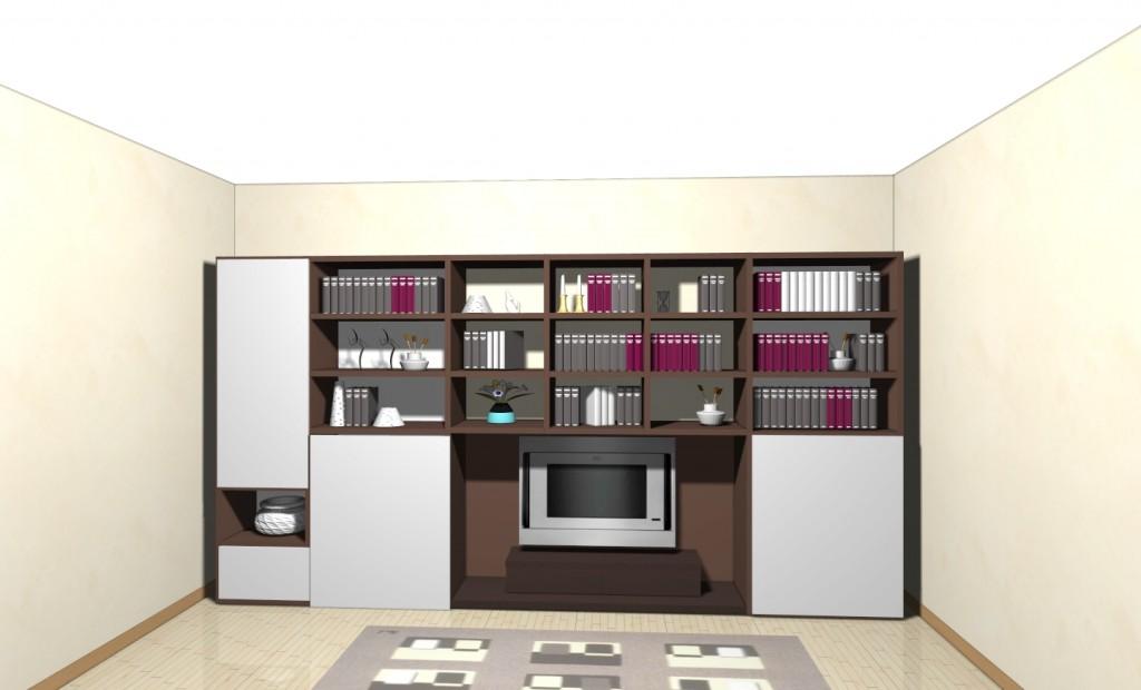 Soggiorno libreria con ante scorrevoli ... grandi spazi contenitivi per la zo...