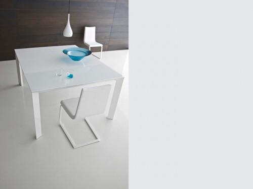 tavolo consolle, tavolo consolle vetro, consolle vetro, consolle allungabile vetro, consolle bianca, consolle vetro bianco, point, tiffany